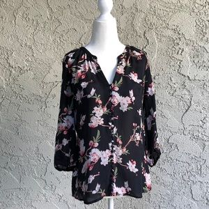 Joie Sheer Floral Silk Blouse Top Small